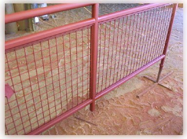 Painted mesh rail